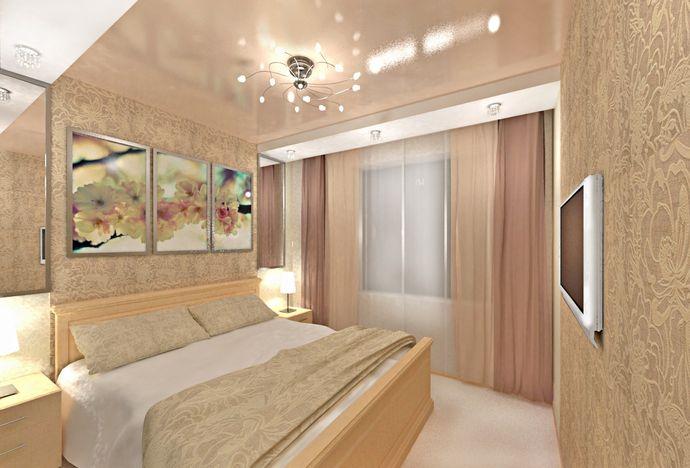 Люстра в светлой спальне