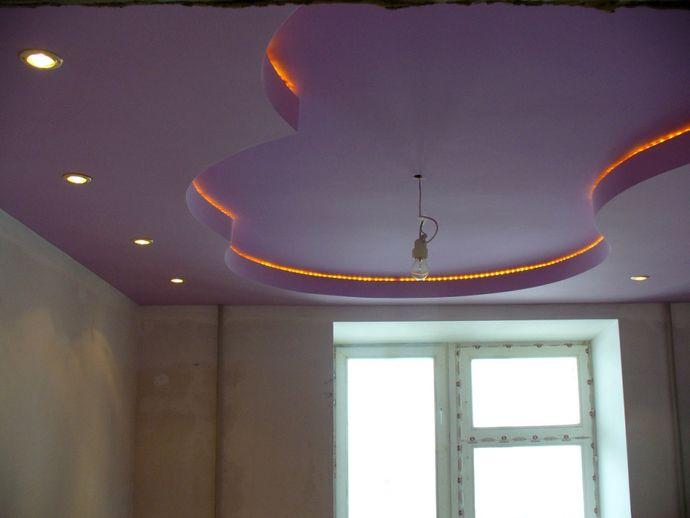 Образец двухуровнего потолка из гипсокартона