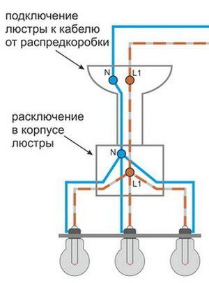 Подключение люстры с двумя проводами