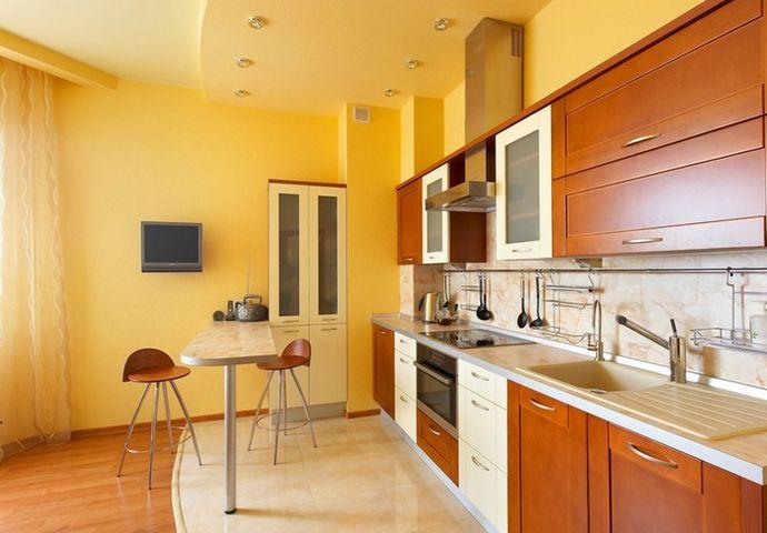 Фото двухуровневого потолка из гипсокартона на кухне