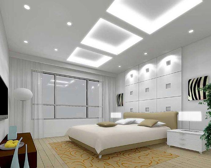 Белый потолок из гипсокартона с подсветкой