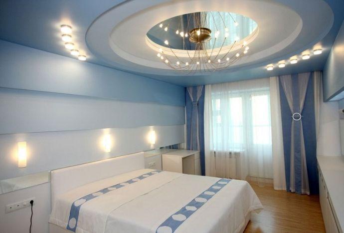 Гипсокартонная потолочная конструкция с зеркалом