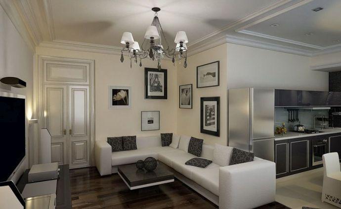 Потолки из гипсокартона на кухне-гостиной