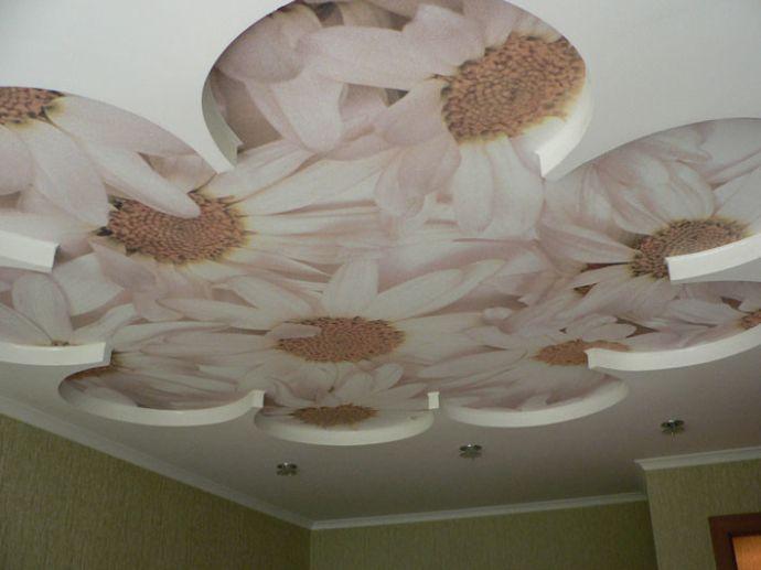Фотопечать на полотне потолка