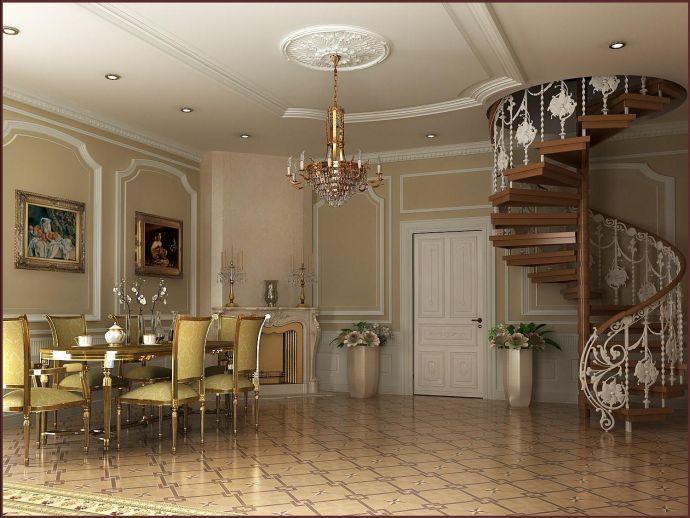 Потолок в гостиной-столовой