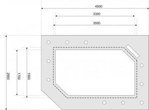 Пример эскиза потолка из гипсокартона с указанием размеров
