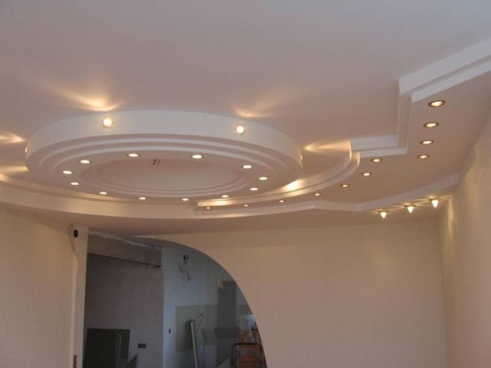 Красивый многоуровневый потолок из гипсокартона