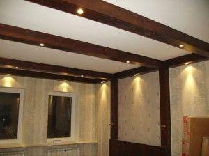 Натяжной потолок деревянного дома
