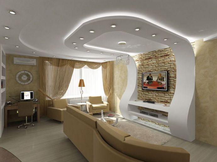 Подвесной потолок из гипсокартона в гостиной