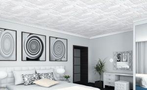Белые панели из пенопласта в спальне