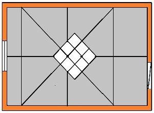 Разметка потолка при наклеивании плитки по диагонали