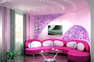 Цветной сатиновый натяжной потолок