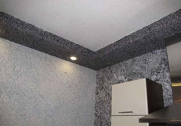 Отделка жидкими обоями стен и потолка